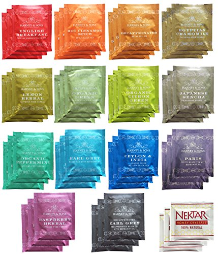 Harney & Sons Assorted Tea Bag Sampler 42 Count With Honey Crystal Packs Great for Birthday, Hostess and Co-worker Gifts -