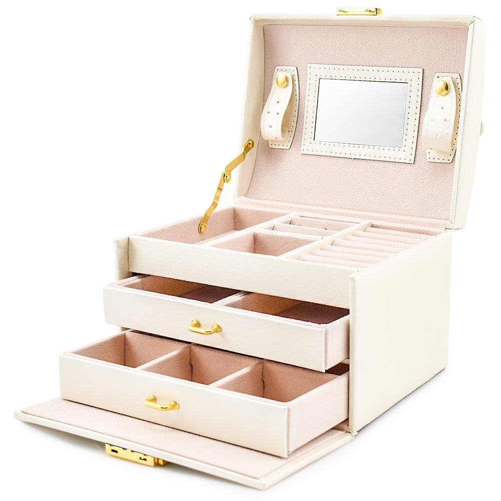 Boîte à bijoux Mallette/coffrets/boîte à maquillage, bijoux et cosmétique beauty Case avec 2 Tiroirs 3 Couches bijoux et cosmétique beauty Case avec 2 Tiroirs 3 Couches (Noir) Ballad DX-128