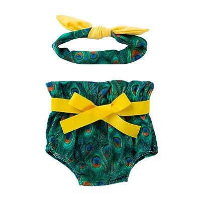 POLP Niñaʕᴥʔniña Impresión Pantalones Corto,Mujer Casual Elegante Moda con Estampado de Playa de Verano de para,Pantalones Corto,Niñas Ropa Pantalones de Verano y Banda de Pelo(2 PCS)