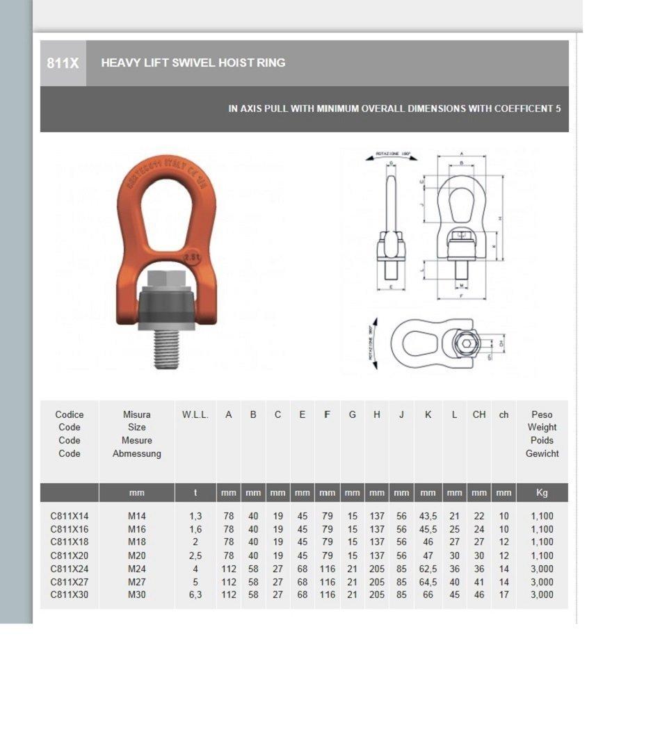 Grade 100 All Material Handling C811X20 Heavy Lift Swivel Hoist Ring 2.5 Tons 7008888 M20X30 Thread