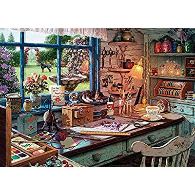 AGNELGGH Landscape Jigsaw Puzzles Scenery Puzzle 1000 Peice Puzzles Jigsaw Puzzles for Adults and Kids, Vintage Paintings Drawing Architectural Style (Cat): Toys & Games