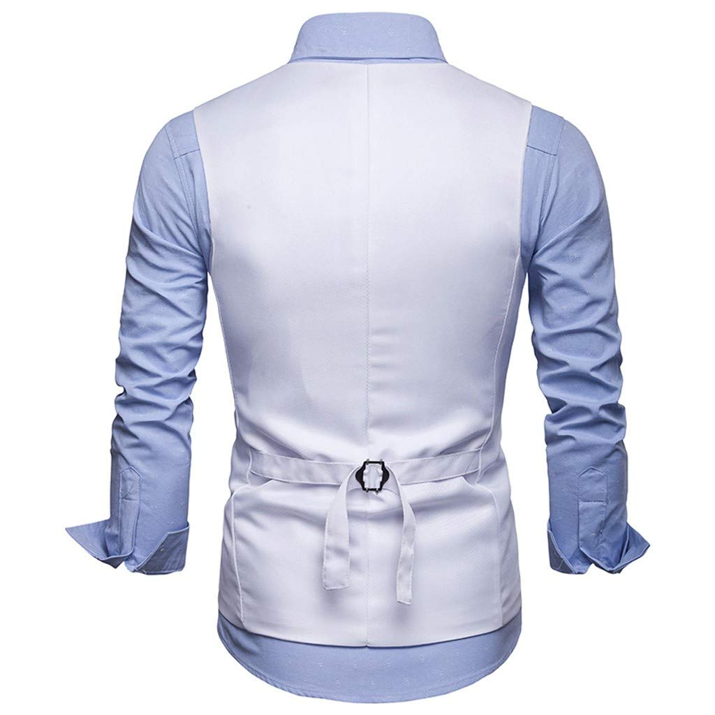 MODOQO Mens Business Suit Vest Solid Color Slim Fit Paisley Wedding Tuxedo Vest