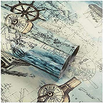 Nautical Map Wallpaper H2mtool Removable Peel And Stick Wallpaper Self Adhesive Decorative 17 7 X 78 7 Nautical Map Amazon Com