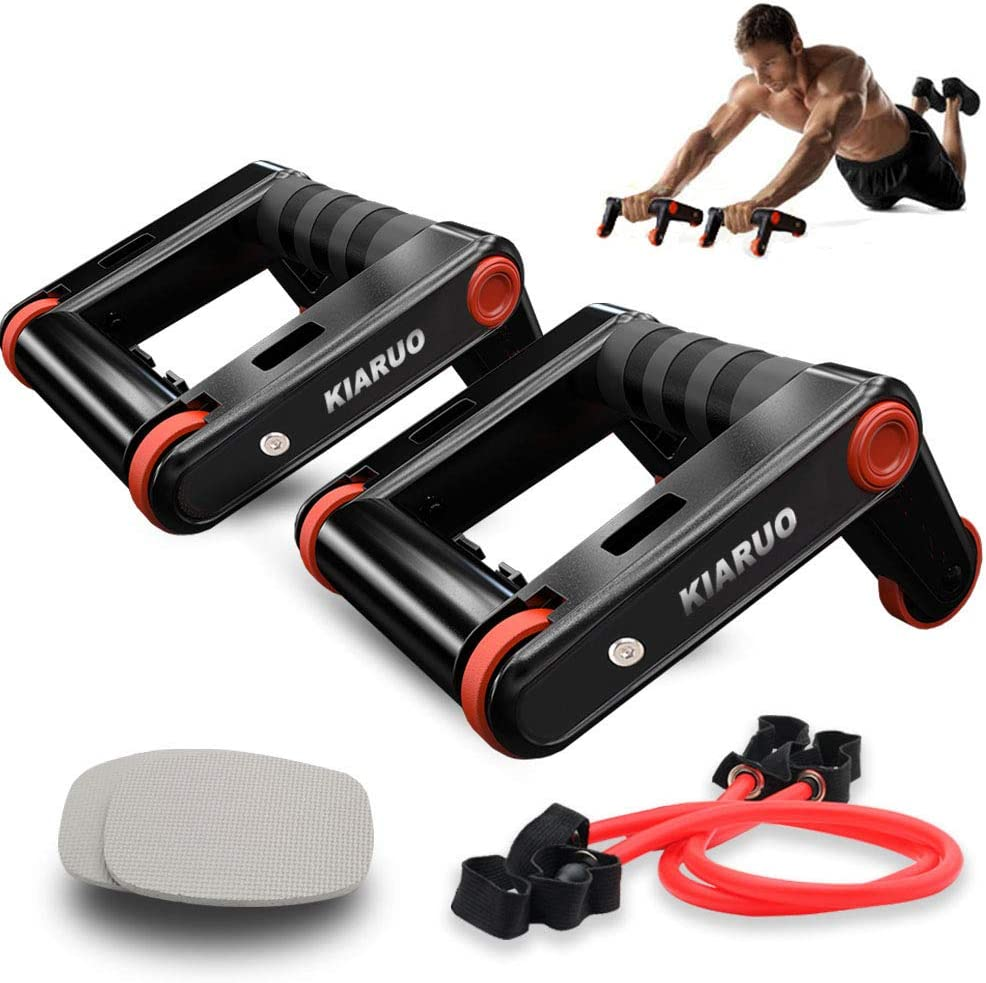 KIARUO Foldable Double AB Wheel Push up Bars 2 in 1 Fitness Equipment with Knee Pad Resistance Rope Portable Exercise Fitness Trainer Workout Abs Core Power for Home Gym Traveling