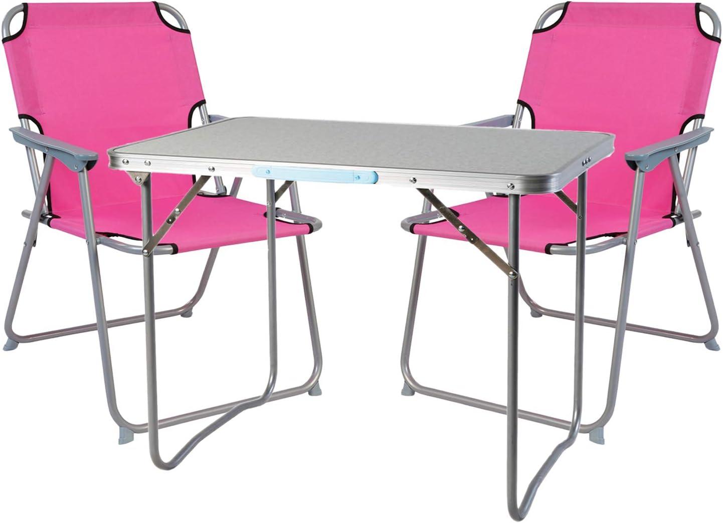 1 Tavolo da Campeggio con Maniglia e 2 sedie da Campeggio Rosa 80 x 60 x 68 cm Mojawo  3 Pezzi Set di mobili da Campeggio in Alluminio
