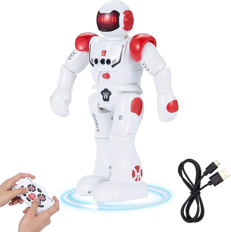 SUNNOW Robot Juguete Programación Inteligente Gestos Control Robots Recargable Multifuncionales Robot de Radiocontrol, Juguete Ideal para Niños (Rojo)