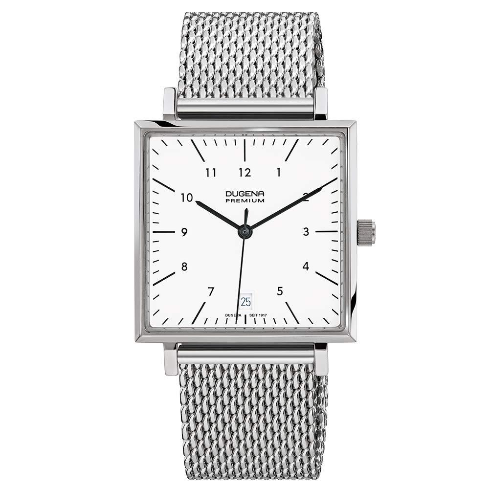 Dugena Premium - Reloj analógico de Cuarzo para Hombre con Correa de Acero Inoxidable, Color Plateado