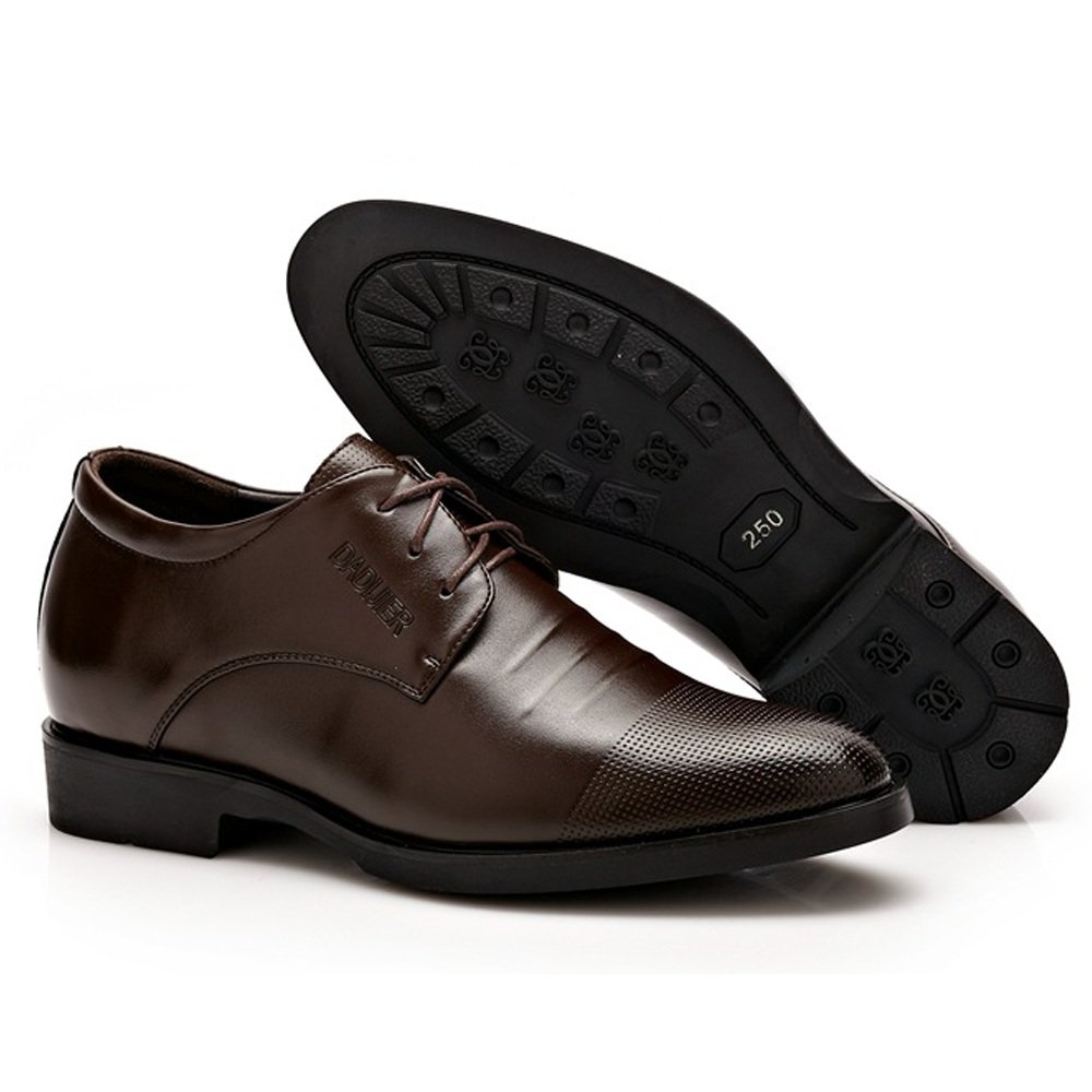 Mens Leather Shoes Classic Lace Dress Shoes Height Increasing Leather Oxfords Business Wedding Formal Shoes for Gentlemen,Very Stylish Color : Black, Size : 6 UK