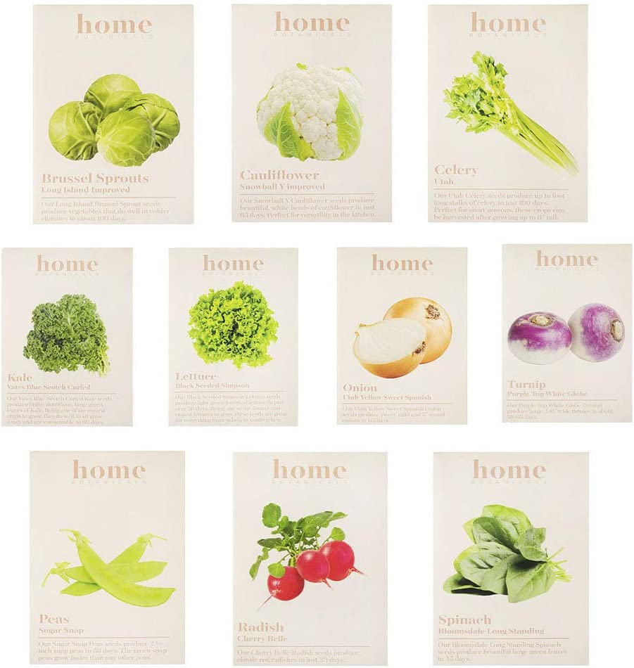 Home Botanicals | Cold Weather Seed Variety Pack - Brussel Sprouts, Cauliflower, Celery, Kale, Lettuce, Onion, Turnip, Peas, Radish, Spinach - Organic Vegetable Plant Garden Starter, Set of 10