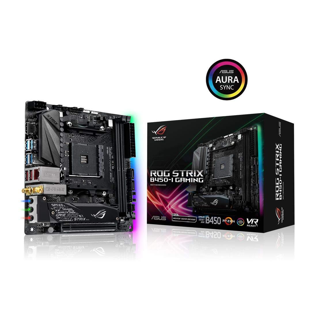 ASUS ROG Strix B450-I Gaming Motherboard (Mini ITX) AMD Ryzen 2 AM4 DDR4 HDMI M.2 USB 3.1 Gen2 B450 by ASUS