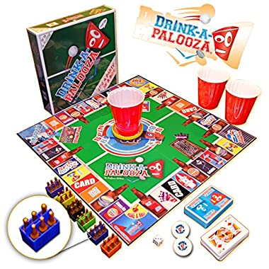 DRINK-A-PALOOZA Board Game: The  Monopoly  of Drinking Games & Adult Games featuring Beer Pong, Flip Cup & all the best Games for Adults