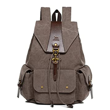 Mochilas Lona, Popoti Mujeres Hombres Mochila Escolar Backpack 15 Inch Laptop Bag Daypack Unisex Rucksack