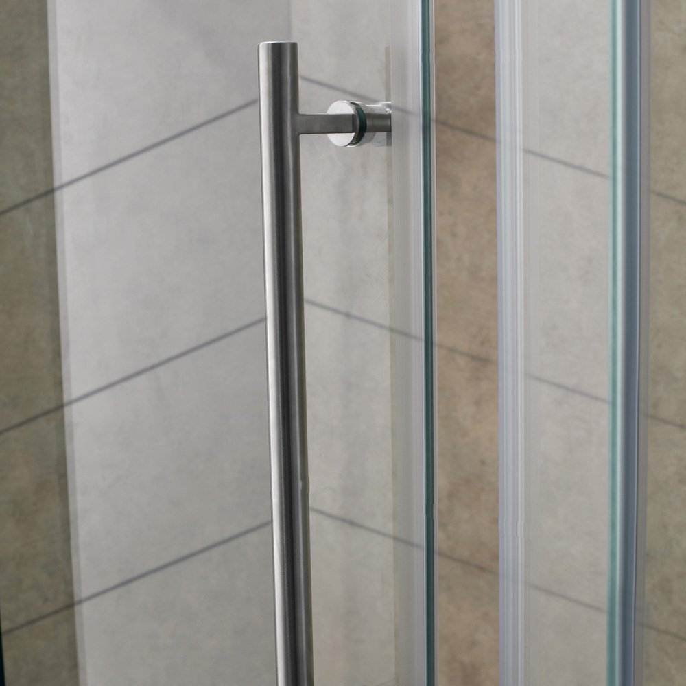 VIGO Winslow 36 x 48-in. Frameless Sliding Shower Enclosure with .375-in.  Clear Glass and Stainless Steel Hardware