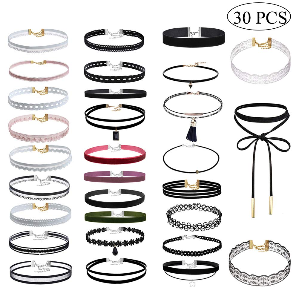 Uniqhia Leather Chain Necklace Women Girls Choker Tassel Necklace Velvet Length Adjustable (30PCS)