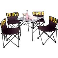 LXB Tragbare Klapp Camping Tisch Stühle Set, Aluminium Falten kompakte und kompakte Außenterrasse Camp Strand Picknick mit Tragetasche