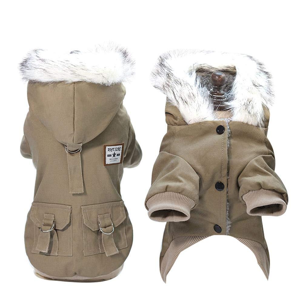L AOLVO Cappotto Militare Caldo per Cani con Cappuccio Stile Militare Antivento Cappotto Calda Giacca Cappottino Invernale per Cane Taglia Piccola Cachi