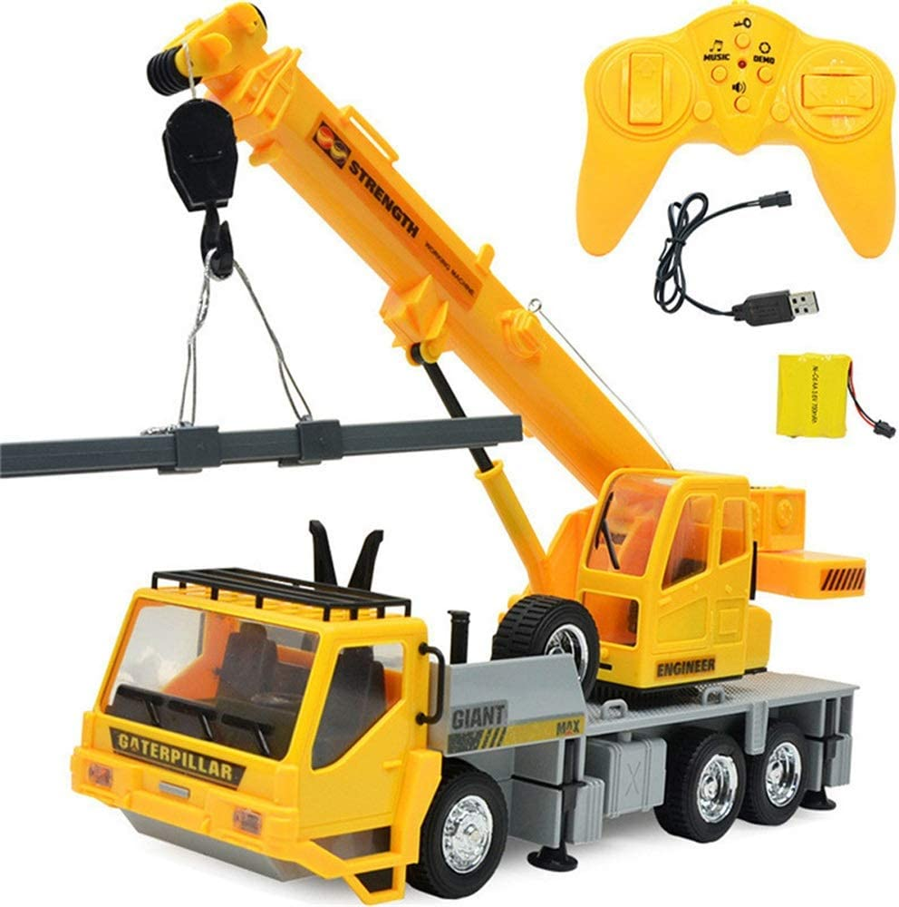 ElevenY 2019 New Simulation RC Excavator Toys 1:24 2.4G 8CH Wireless Remote Control Engineering Vehicles Crane Truck Kids Toy 8-Channels for Boys Girls Children Teenagers Presents 61nfFn7jszLSL1000_