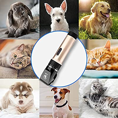 CEENWES Pet Clippers (Upgrade Version) Low Noise Professional Dog Clippers Rechargeable Cordless Pet Clipper Trimmers Pet Hair Grooming Kit with Slicker Brush for Cats Dogs and Other Animals from CEENWES