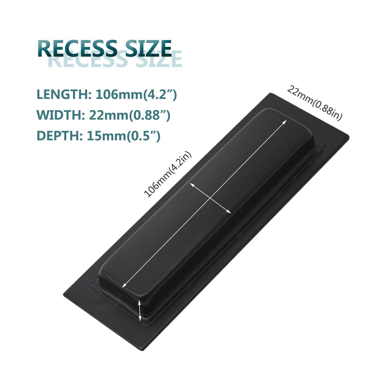 2 Pack Acciaio inossidabile 150 mm x 50 mm Maniglia per porta scorrevole in acciaio inox rettangolare Nero a incasso