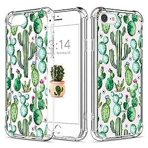 Caroki Funda para iPhone7,Funda para iPhone8, TPU Cactus Carcasa Funda Gel Transparente,[A Prueba de Choques] Silicona de Ultra Delgado Impresión de Estuche Carcasa Trasera para iPhone7/8-Cactus 15
