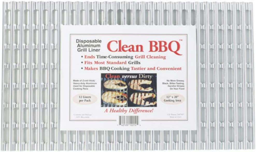 Clean BBQ – Disposable Aluminum Grill Liner. Set of 12 Sheets of Grill Topper