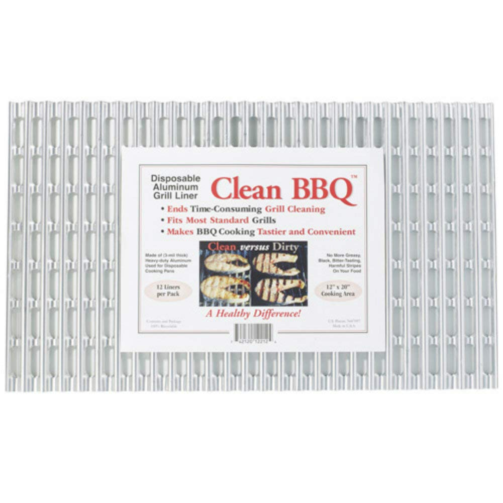 Clean BBQ - Disposable Aluminum Grill Liner. Set of 12 Sheets of Grill Topper
