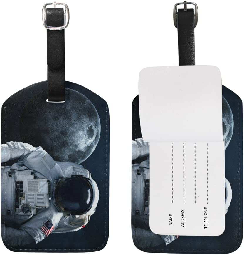 Blue Viper Astronaut In Outer Space And Moon PU Leather Luggage Tags Personalized