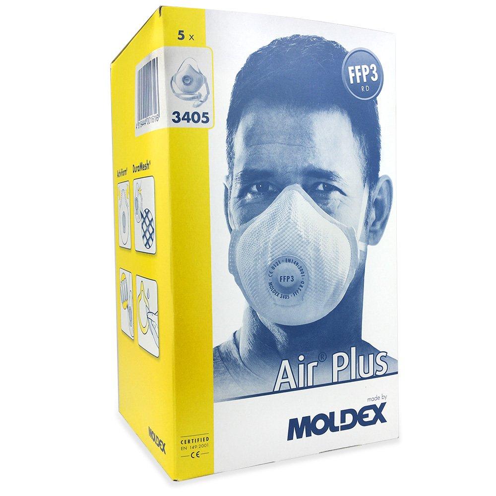 Moldex 3405 Air Plus Series 3000 Reusable Mask FFP3 - R D Ventex Valve (5 Masks (1 Box))