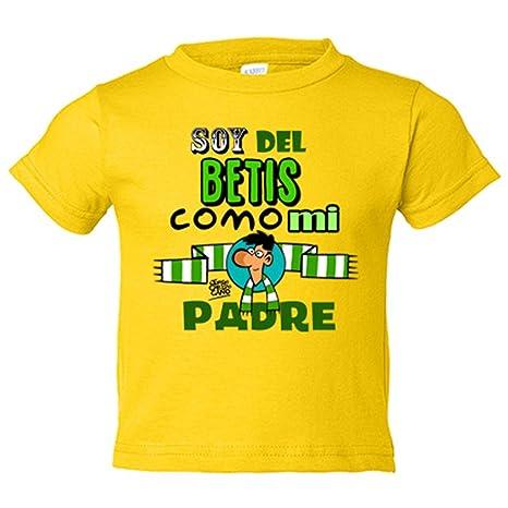 Camiseta niño Real Betis soy del Betis como mi padre regalo - Amarillo, 3-