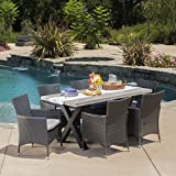 Seabrook Patio Furniture | 7 Piece Outdoor Dining Set | Light-Weight Concrete Rectangular Table | Premium Wicker Dining Chairs in Grey
