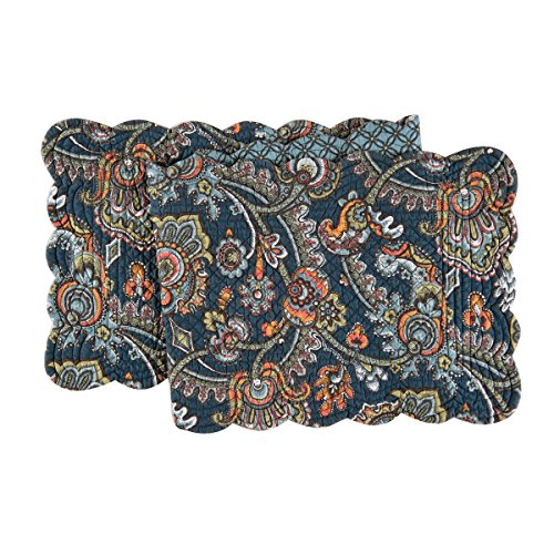 Paisley Table Runner - C&F Home. Middleton Quilted Reversible Table Runner 14x51 - Navy, Blue, Green, Gold
