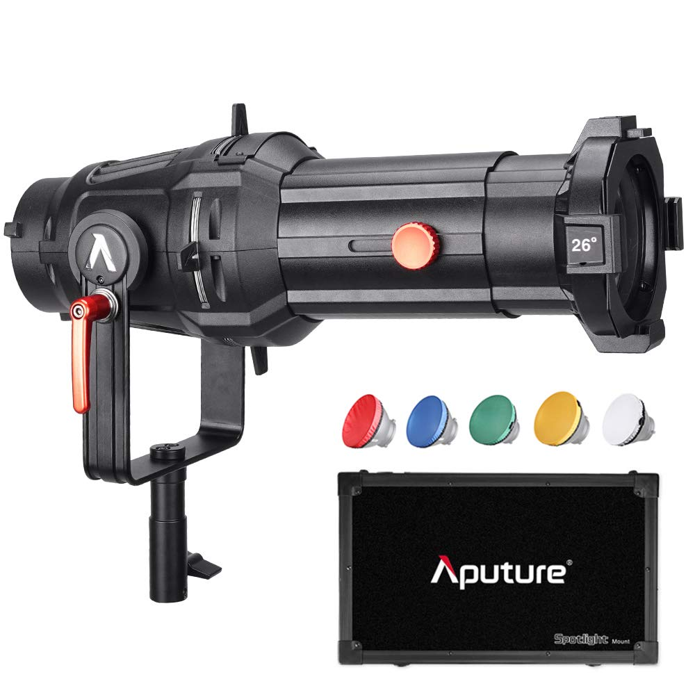 Aputure Spotlight Mount 26° Lighting Modifier with Interchangeable Projector Len and 3 GOBO 120D Mark 2 120D LS C300D and Other Bowen-S Mount Light, Including PERGEAR Soft Diffuser by Aputure