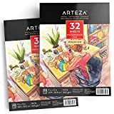"Arteza Watercolor Pad, 2 Pack, 9""x12"" Painting & Drawing Paper Sketchbooks, 64 Sheets Total, 140 lb./300gsm Cold Pressed Paper, Acid Free, Perfect for Wet, Dry & Mixed Media, White"