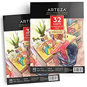 "ARTEZA 9x12"" Watercolor Pad, Pack of 2, 64 Sheets (140lb/300gsm), 32 Sheets Each, Acid Free Cold Pressed Paper, Painting & Drawing Sketchbook, Perfect for Wet, Dry & Mixed Media"