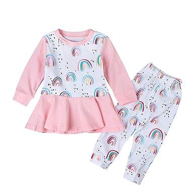 9c739730a41a1 Coolbabe 1-5 Ans Bébé Enfant Fille 2 Pcs Ensemble de Vêtement Arc-en ...