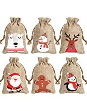 CCINEE 6 Syltes Christmas Linen Bags, with Drawstrings Christmas Burlap Gift Bags with Double Jute Drawstrings,12Pieces (Style 1)