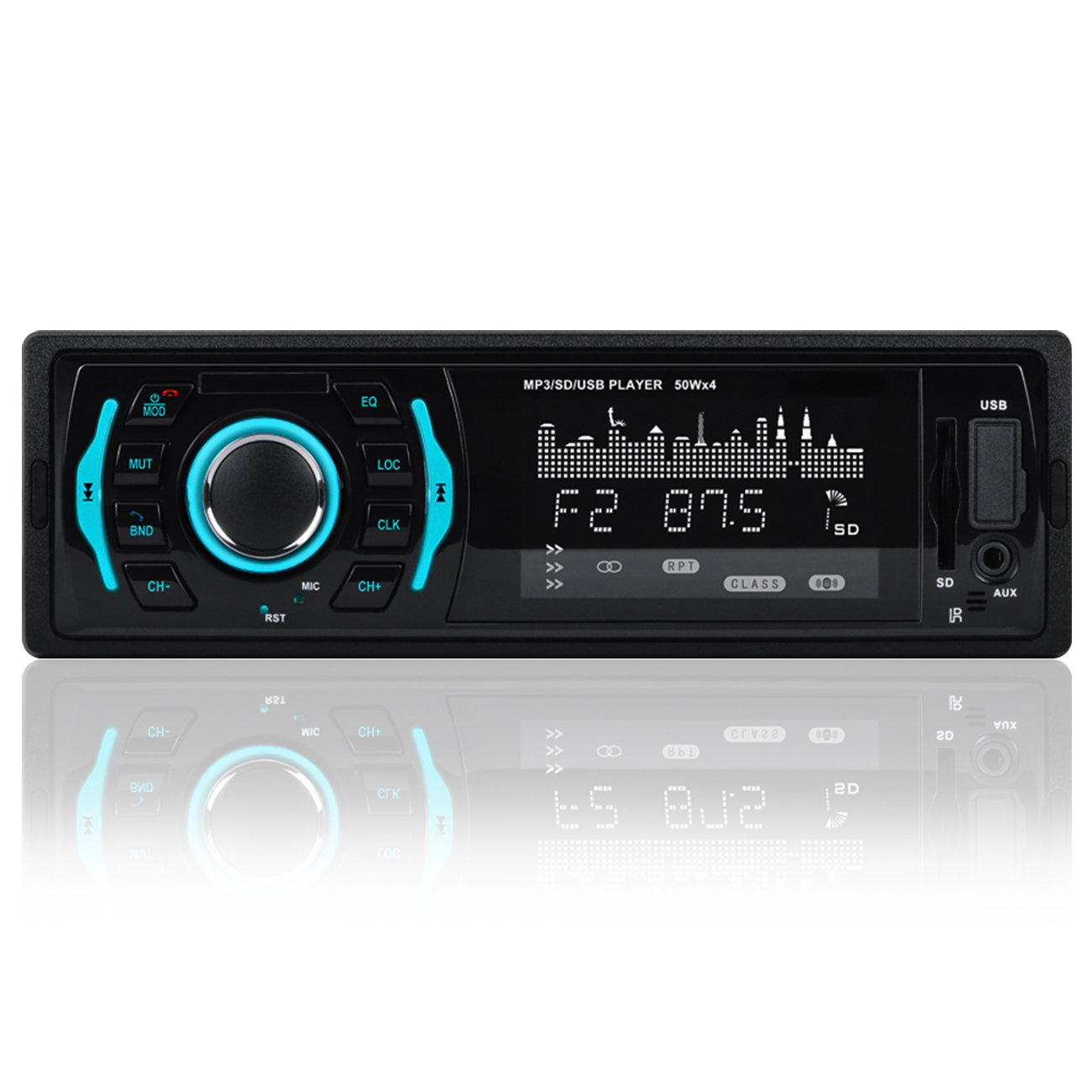 Favoto Car Stereo Receiver Single Din with Bluetooth MP3 Player Audio Receiver Digital Media Receivers Autoradio with Remote Control Support Hands-Free Call USB SD FM AUX DC12V with Gift Micro SD Card Reader FTUS-MP3-RK525-Sdcard