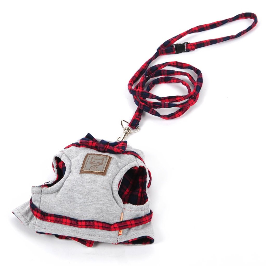 RED S RED S Cat Harness, Cat Cat Rope, Vest Cat Sling, Dog Chain, Cat Leash, Pets Avoid Escape Chest Strap (color   RED, Size   S)