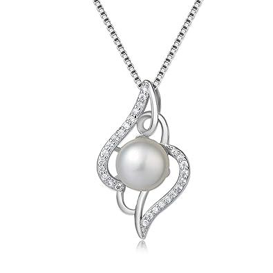 Collier Femme en Argent 925 avec Perle - Bijoux Femme en Argent Perle et  Zirconium Chaine ea5adf166aa