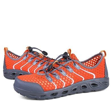 Athletic Sneaker Lacent des Chaussures en Tissu de Maille de Coton Respirant pour Les Femmes et Les Hommes,Chaussures de Cricket (Color : Orange, Size : 44EU)