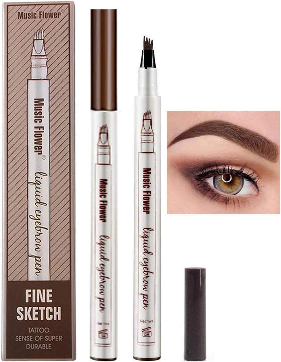 Lapiz de Cejas Waterproof, Tattoo Eyebrow Pen con Cuatro 4 Puntas Duraderas Brow Gel Para Maquillaje de Ojos: Amazon.es: Belleza