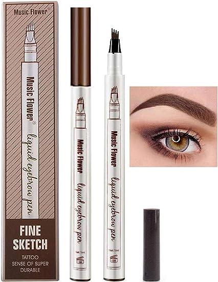 Lapiz de Cejas Waterproof, Tattoo Eyebrow Pen con Cuatro 4 Puntas Duraderas Brow Gel Para Maquillaje de Ojos