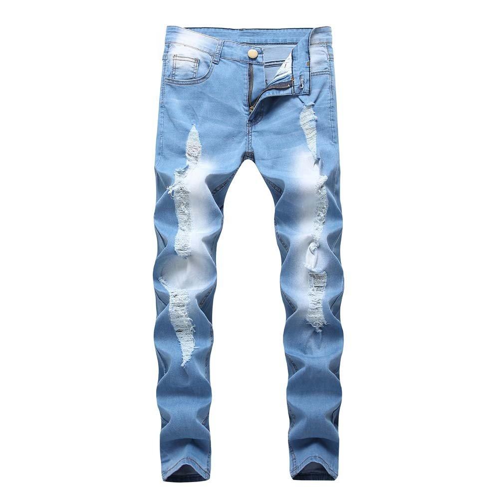 aiNMkm Men Slim Biker Zipper Denim Jeans Skinny Frayed Pants Distressed Rip Trousers,Light Blue,34