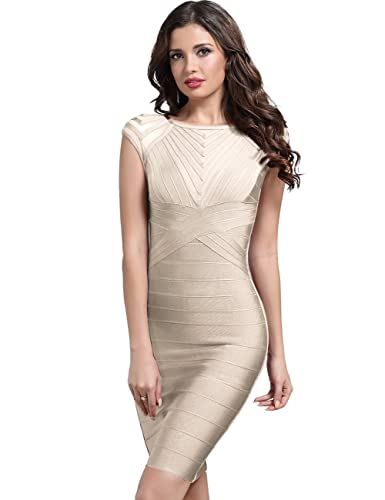 Adyce Women Dress Party Bandage-Dress-Beige Elegant Bodycon Slim Fit Flattering Cocktail Clubwear XS