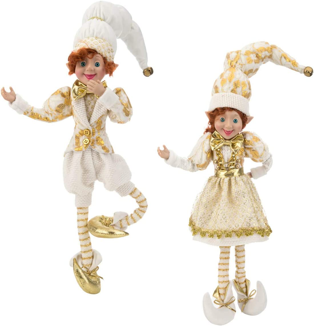 "ARCCI 26"" Christmas Elves Posable Elf Christmas Figure - Set of 2 Glitter Glod and White Posable Elf Christmas Figure, Xmas Holiday Party Home Decoration (White & Gold)"