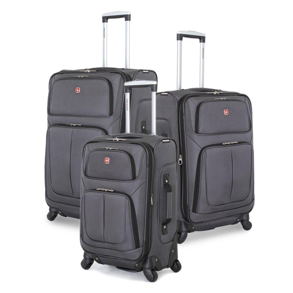 SwissGear 3 PC Spinner Suitcase Set (Dark Grey) by SwissGear