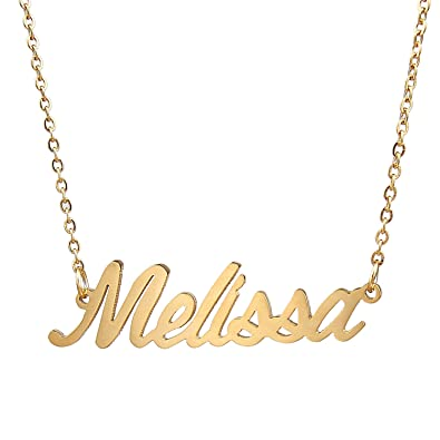 4d6b0ee6fa3ef Amazon.com: Huan XUN Little Personalized Name Necklace Melissa ...