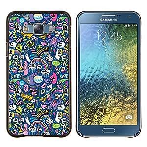 LECELL--Funda protectora / Cubierta / Piel For Samsung Galaxy E7 E700 -- Gatos Ghost Monster Wallpaper Diseño colorido --