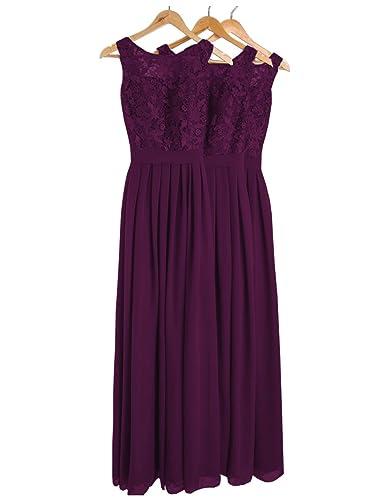 DYS Women's Lace Bridesmaid Dress Long Prom Evening Dresses Jewel Neck