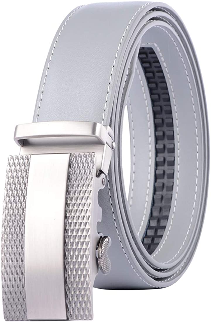 Mens Holeless Genuine Leather Belt Ratchet Strap with Automatic Buckle Trim to Fit